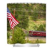 Cyrus K. Holliday Rail Car And Usa Flag Shower Curtain