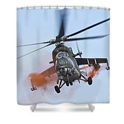 Czech Air Force Mi-35 Hind Helicopter Shower Curtain