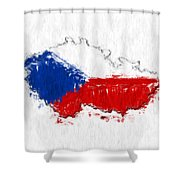 Czech Republic Painted Flag Map Shower Curtain