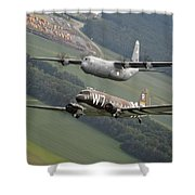 D Day Past And Present Shower Curtain