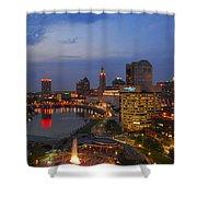 D101l Columbus Ohio Night Skyline Photo Shower Curtain