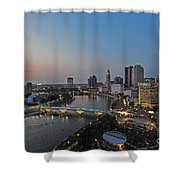 D2l448 Columbus Ohio Night Skyline Photo Shower Curtain