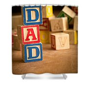 Dad - Alphabet Blocks Fathers Day Shower Curtain