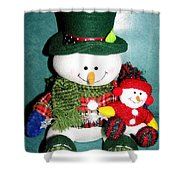 Daddy And Baby Snowmen Decorations Shower Curtain