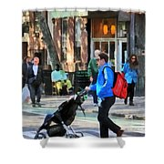 Daddy Pushing Stroller Greenwich Village Shower Curtain