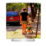 Daddy's Little Buddy Perfect Day Wagon Ride Montreal Neighborhood City Scene Art Carole Spandau Shower Curtain