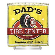 Dad's Tire Center Shower Curtain by Debbie DeWitt