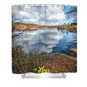 Daffodil Lake Shower Curtain by Adrian Evans