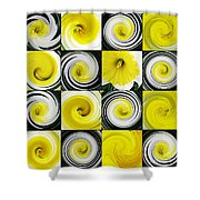 Daffodil Spring Mosaic Shower Curtain