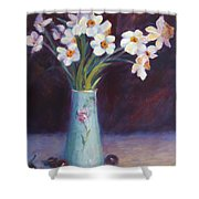 Daffodils And Cherries Shower Curtain