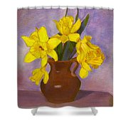 Yellow Daffodils On Purple Shower Curtain
