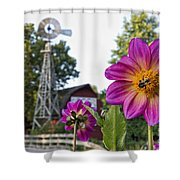 Dahlia Bee And Windmill Shower Curtain