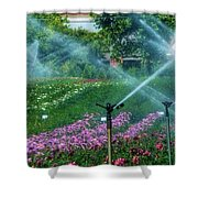 Dahlia Field Farm Scene Shower Curtain