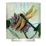 Dahlia With Dragonfly Resting Shower Curtain