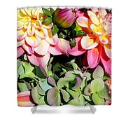 Dahlias And Hydrangeas Bouquet Shower Curtain
