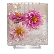 Dahlias And Lace Shower Curtain