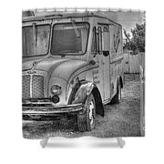 Dairy Truck - Old Rosenbergers Dairies - Black And White Shower Curtain