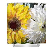 Daisies And Sunflowers - Impressionistic Shower Curtain