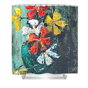 Daisies In A Green Vase Shower Curtain