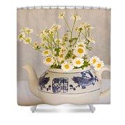 Daisies In A Teapot Shower Curtain