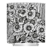 Daisies In Relief Shower Curtain
