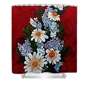 Daisies Lilacs And Forget Me Nots Shower Curtain
