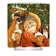 Daisy's Mocha Latte Shower Curtain by Shelly Wilkerson