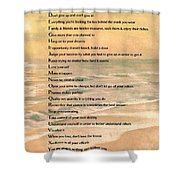 Dalai Lama A To Zen Of Life Typography On Watercolor Ocean Sunset Shower Curtain