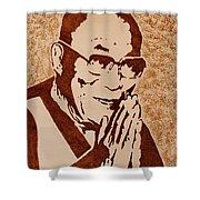 Dalai Lama Original Coffee Painting Shower Curtain