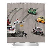 Dale Earnhardt Wins Daytona 500-checkered Flag Shower Curtain