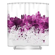 Dallas Skyline In Pink Watercolor On White Background Shower Curtain