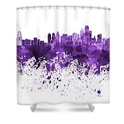 Dallas Skyline In Purple Watercolor On White Background Shower Curtain
