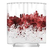 Dallas Skyline In Red Watercolor On White Background Shower Curtain