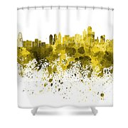 Dallas Skyline In Yellow Watercolor On White Background Shower Curtain