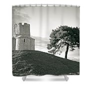Dalmatian Stone Church On The Hill Shower Curtain by Brch Photography