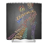 Dance Lovers Silhouettes Typography Shower Curtain