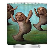 Dance Of The Manatees Edit 2 Shower Curtain
