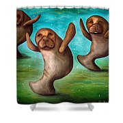 Dance Of The Manatees Edit 3 Shower Curtain