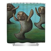 Dance Of The Manatees Shower Curtain