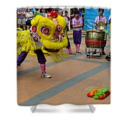 Dance Troupe Performs Chinese Lion Dance Singapore Shower Curtain