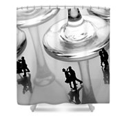 Dancing Among Glass Cups Shower Curtain by Paul Ge