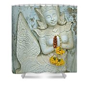Dancing Aspara At Temple Of The Dawn/wat Arun In Bangkok-thailan Shower Curtain