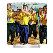 Dancing Kindergarten Students At Baan Konn Soong School In Sukhothai-thailand Shower Curtain
