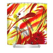 Dancing Lines And Flowers Abstract Shower Curtain