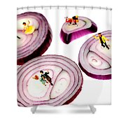 Dancing On Onoin Slices Little People On Food Shower Curtain