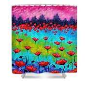 Dancing Poppies Shower Curtain