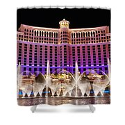 Dancing Waters - Bellagio Hotel And Casino At Night Shower Curtain