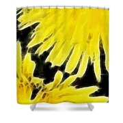 Dandelion Expressive Brushstrokes Shower Curtain