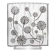Dandelion Seeds Grey Shower Curtain