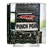 Danger Pinch Point Shower Curtain